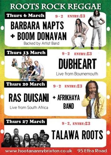 Hootananny Roots Rock Reggae March 2014
