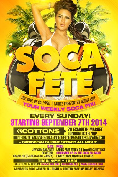 Whats On Soca Fete Sundays